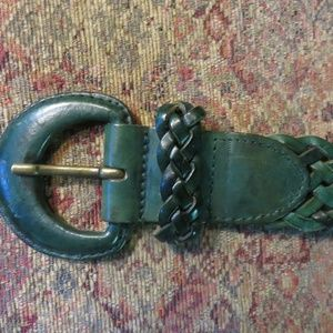 LandsEnd dark green braided leather belt, nwot L
